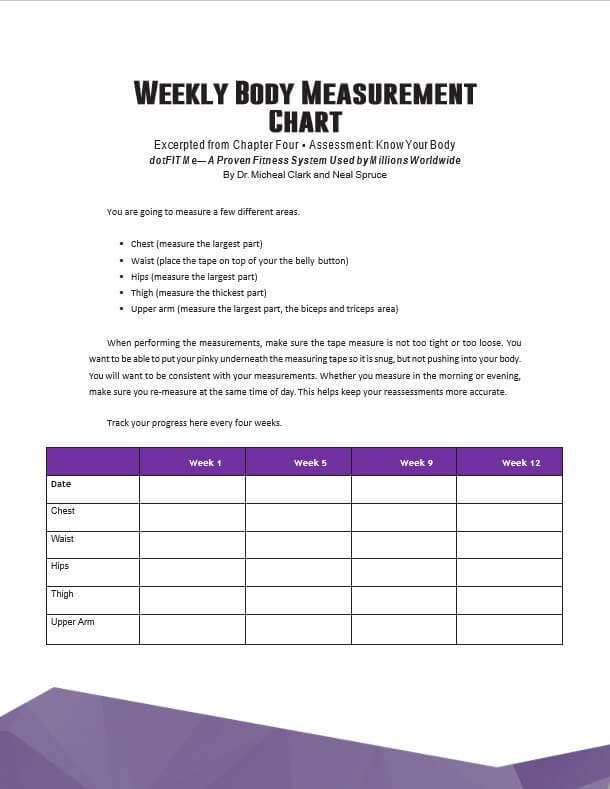 Weekly Body Measurement Chart Template