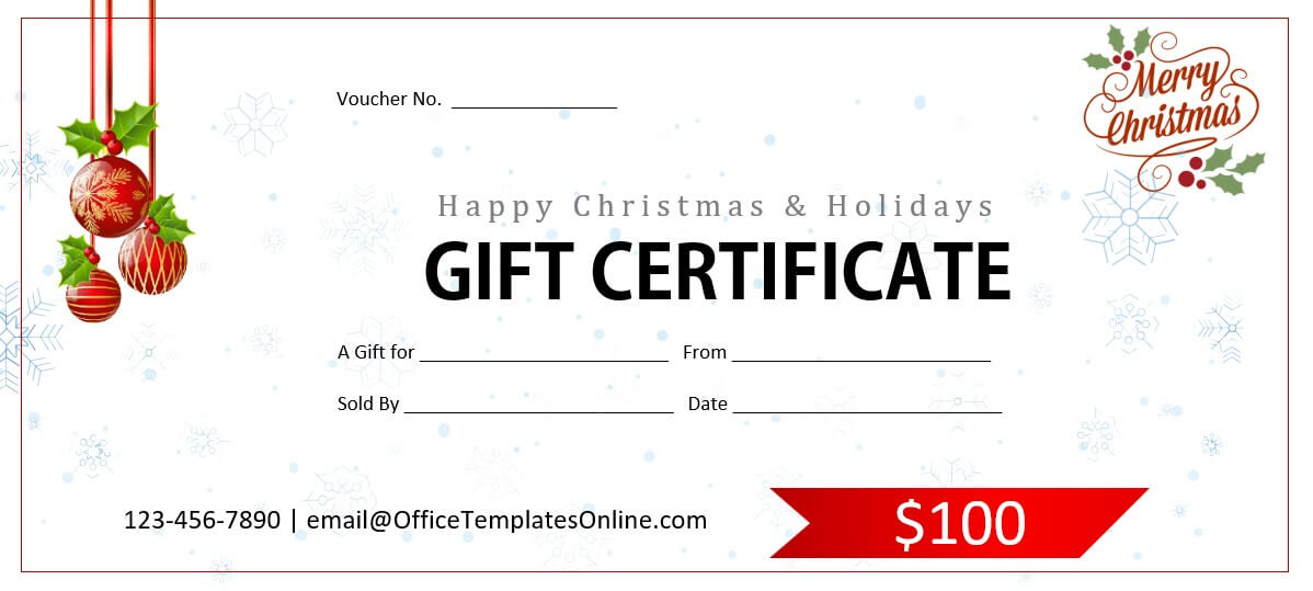 christmas holidays gift certificate template