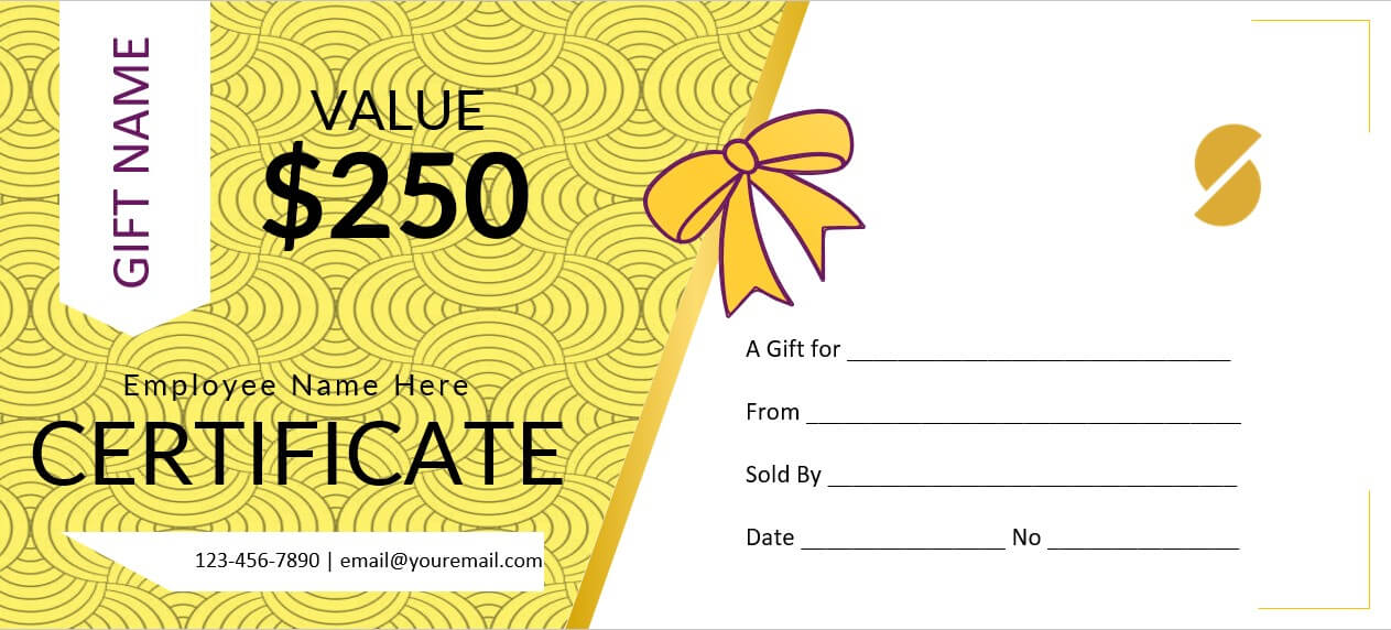 gift certificate for company employee