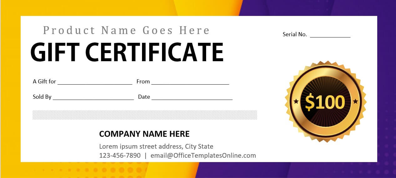product gift certificate template
