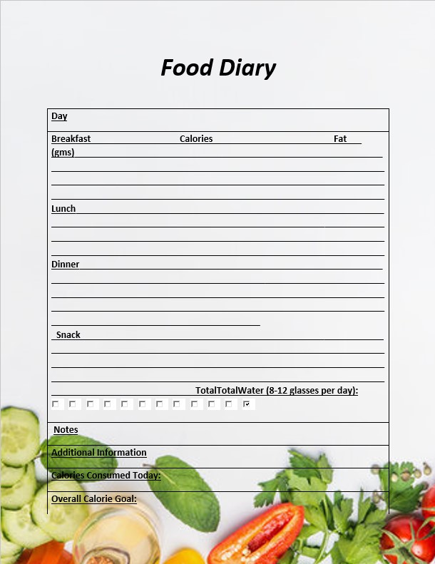 Food Dairy Journal Template