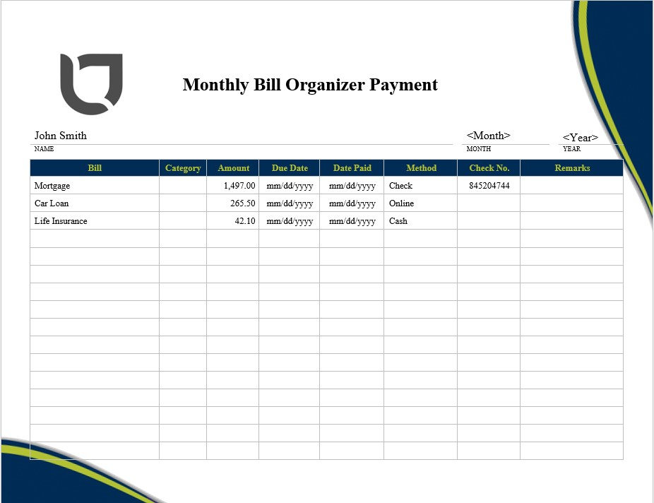 Monthly Bill Organizer Payment