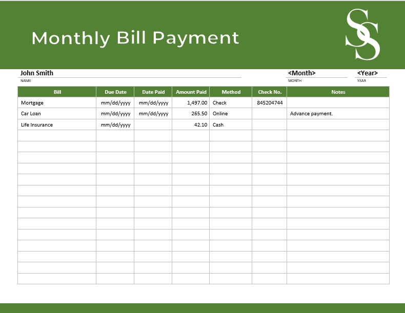 Simple Monthly Organizer Bill Payment