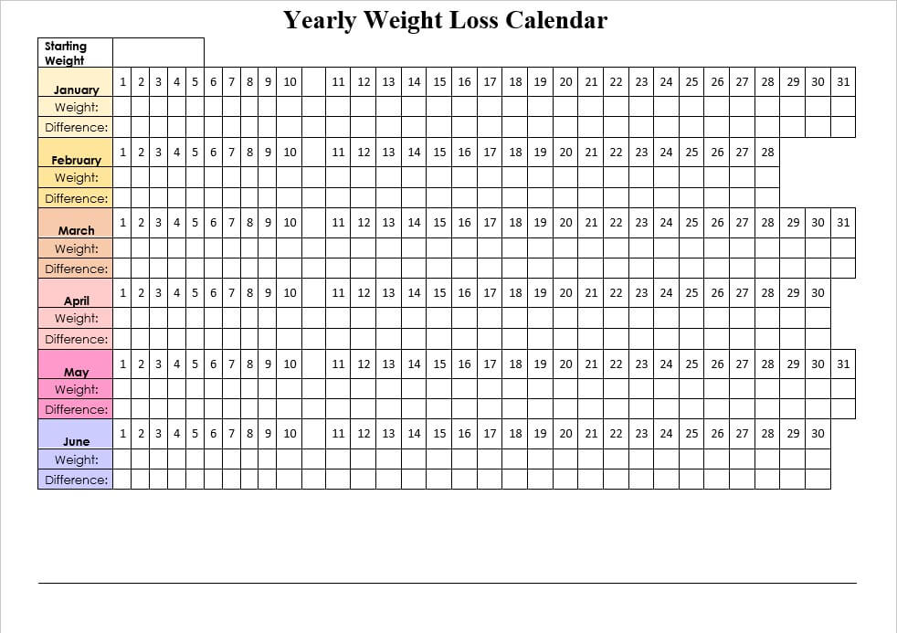 Yearly Weight Loss Calendar