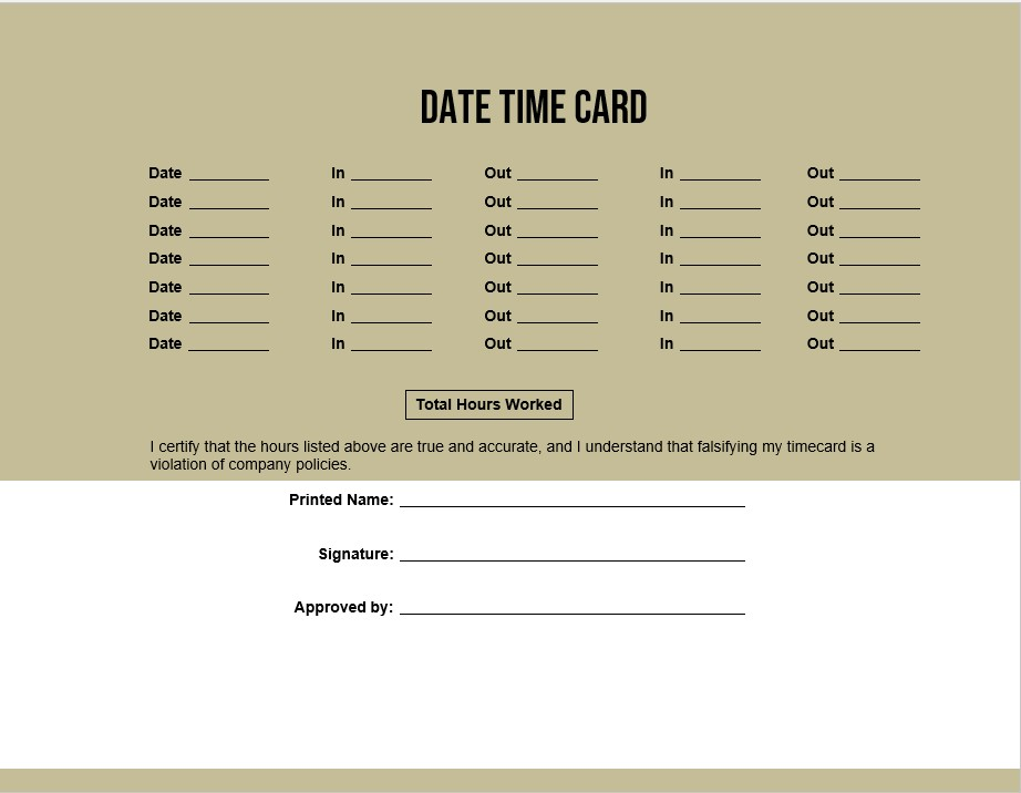 Date Time Card