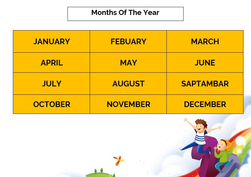 Kids printable months of the year