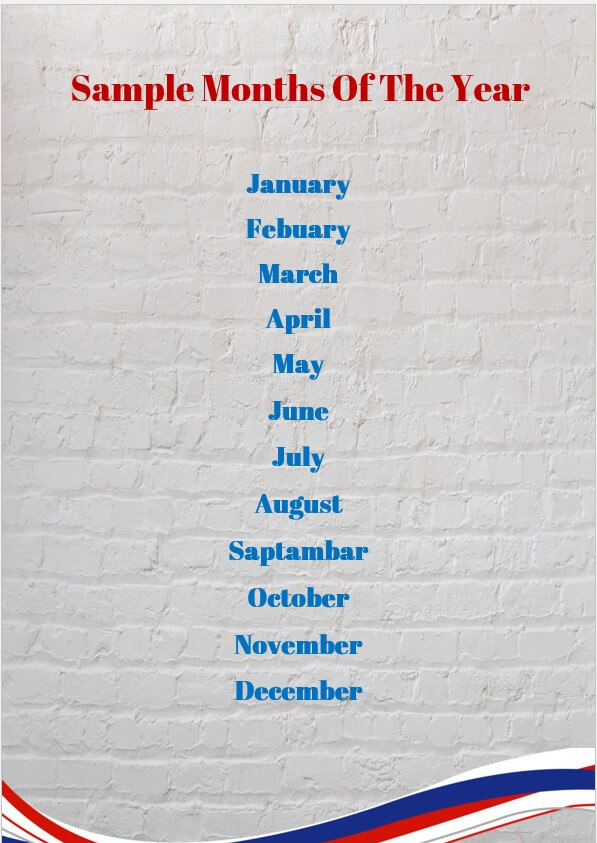 Sample months of the year