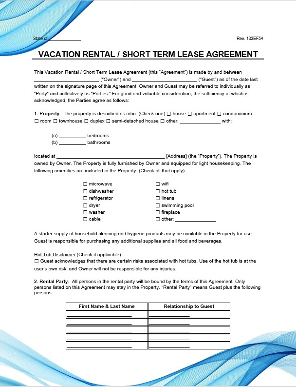 Vacation Rental Short Term Lease Agreement