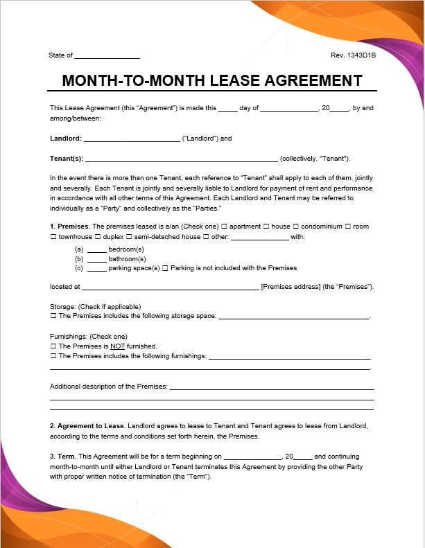 month to month residential rental lease agreement