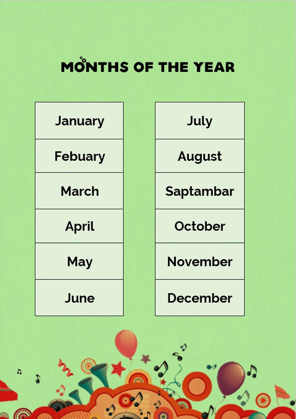months of the year letter