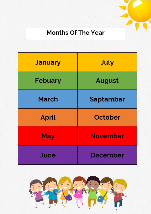 printable months of the year