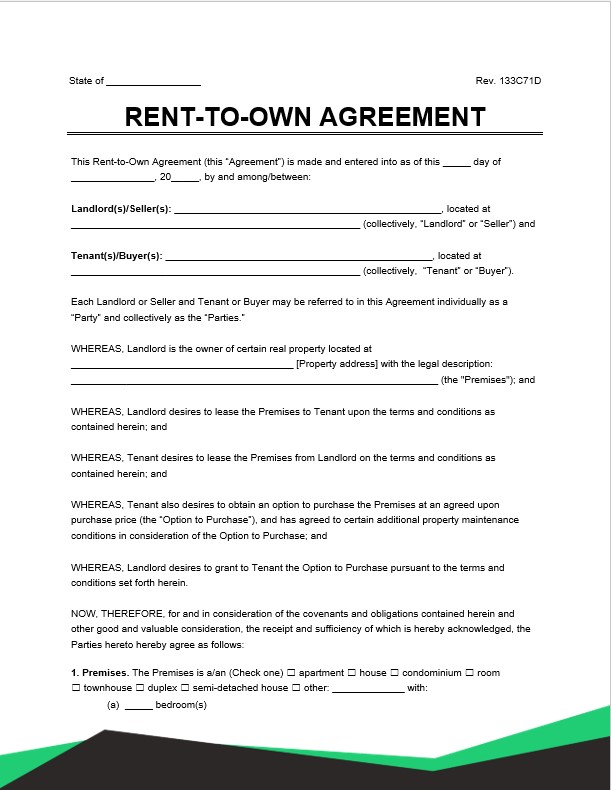 rent to own lease agreement
