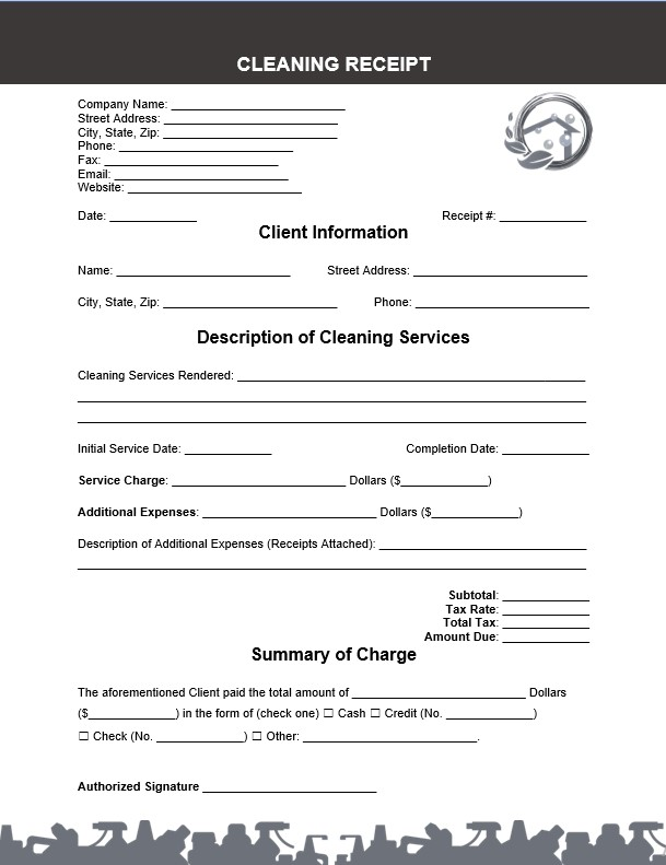 Cleaning Receipt Book Template