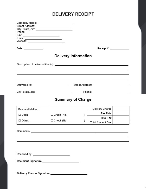 Delivery Receipt Book Template