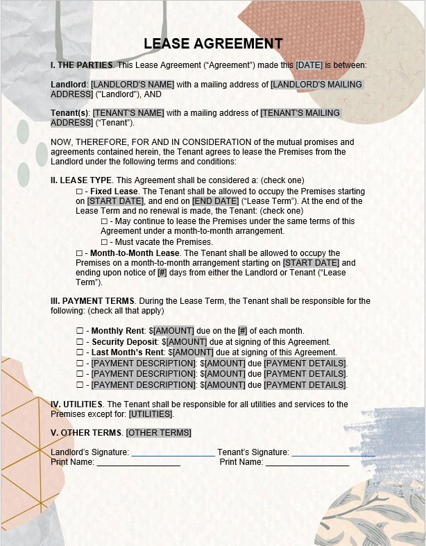 One Page Residential Lease Agreement