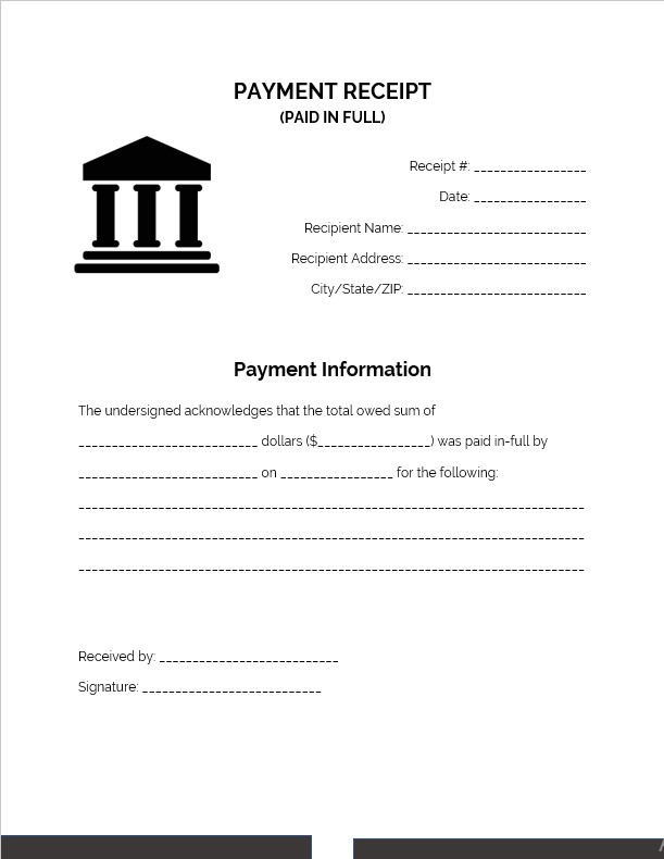 Paid In Full Receipt Book Template