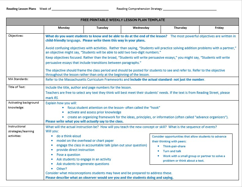 Annotated Weekly Lesson Plan Template