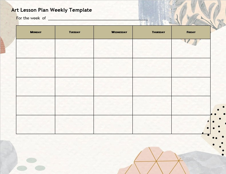Art lesson plan weekly template