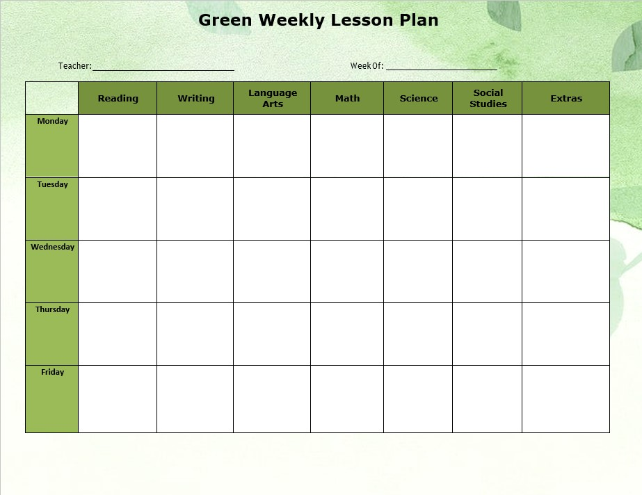 Green Weekly Lesson Plan Template