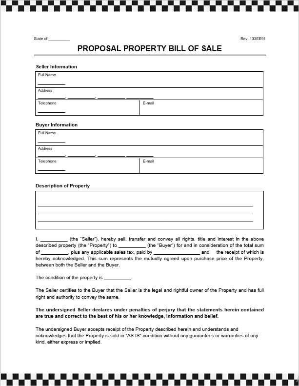 Personal Property Bill of Sale