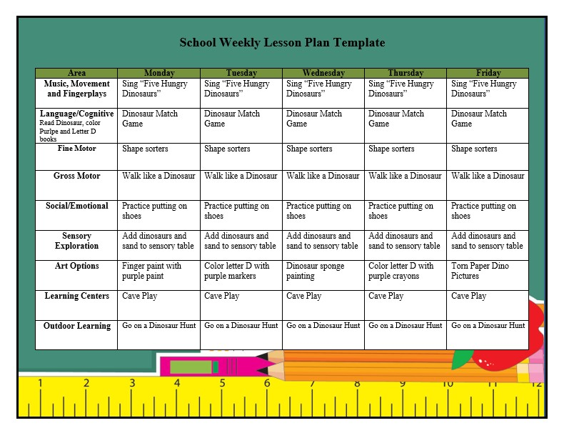 School Weekly Lesson Plan Template