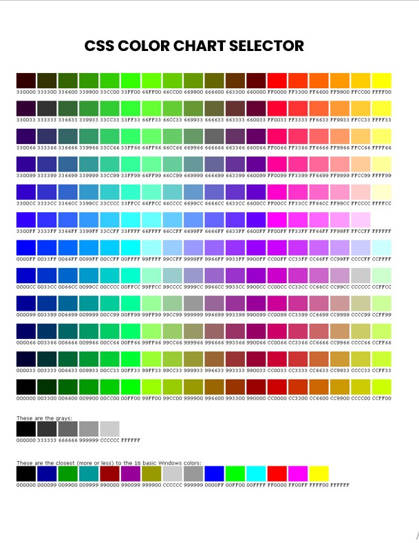 css color chart selector