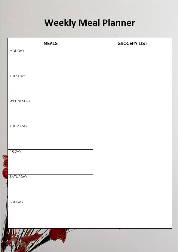 Daily meal planner with grocery list
