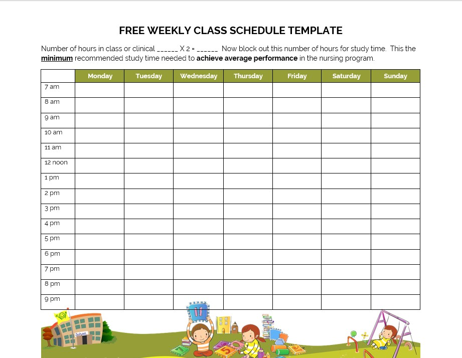 Free Weekly Class Schedule Template