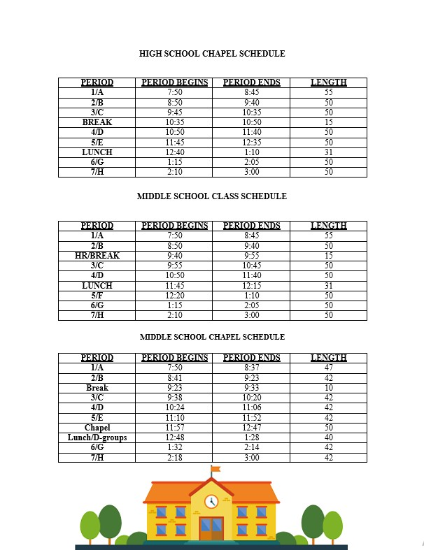 High and Middle School Class Schedule