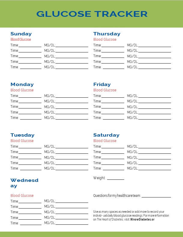 Printable Blood Glucose Template