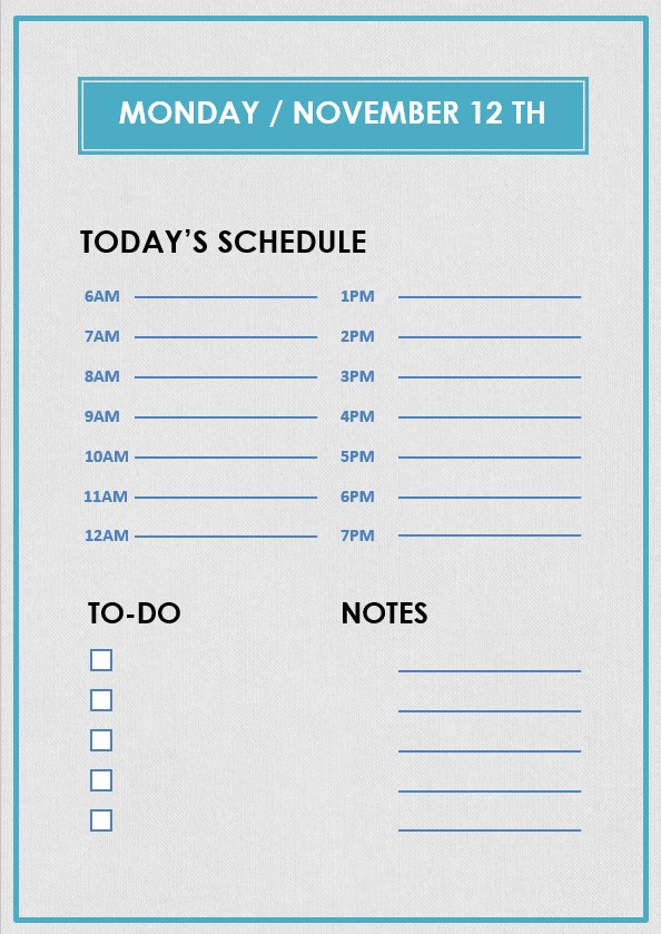 daily hourly planner template