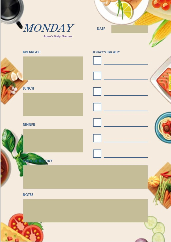 daily male planner template