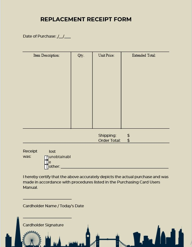 Blank Replacement Receipt Form