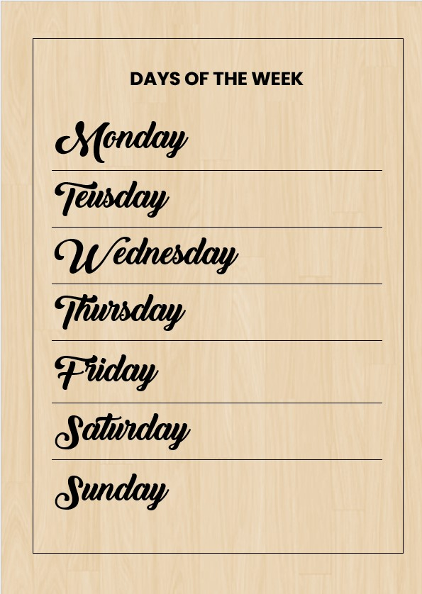 Blank days of the week