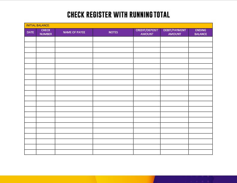 Check Register With Running Total