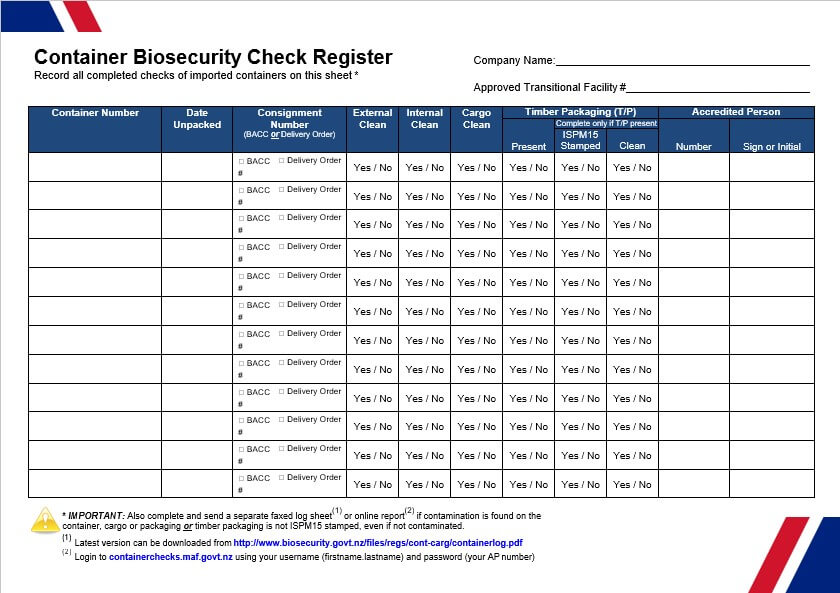 Container Biosecurity Check Register