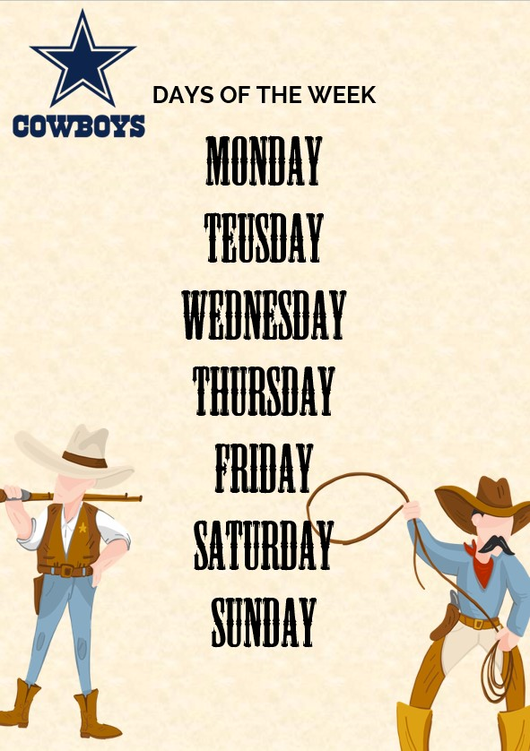 Cowboy days of the week