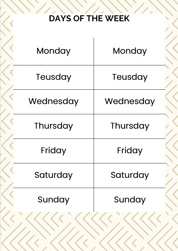 Example days of the week