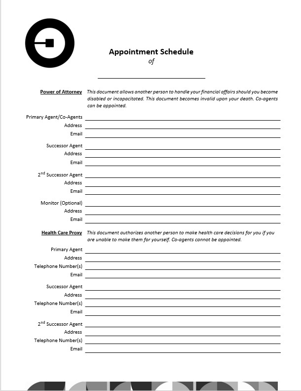 Form appointment schedule template