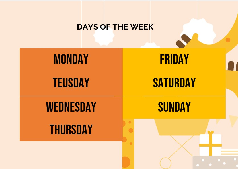 Free days of the week Template