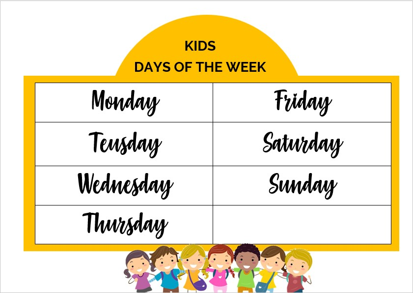 Kids days of the week Template