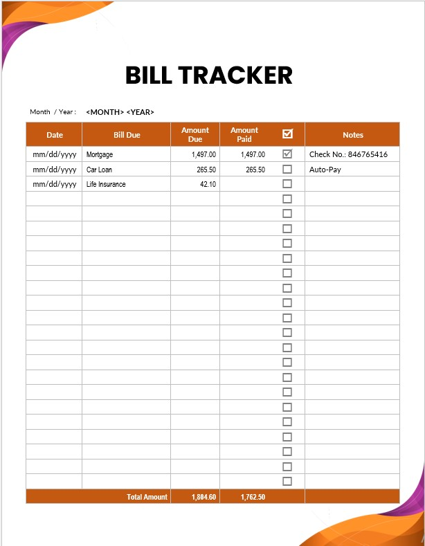 Table Monthly Bill Tracker