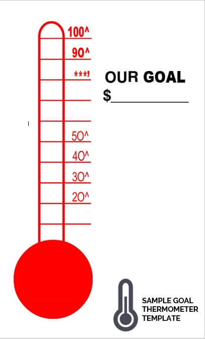 sample goal thermometer template