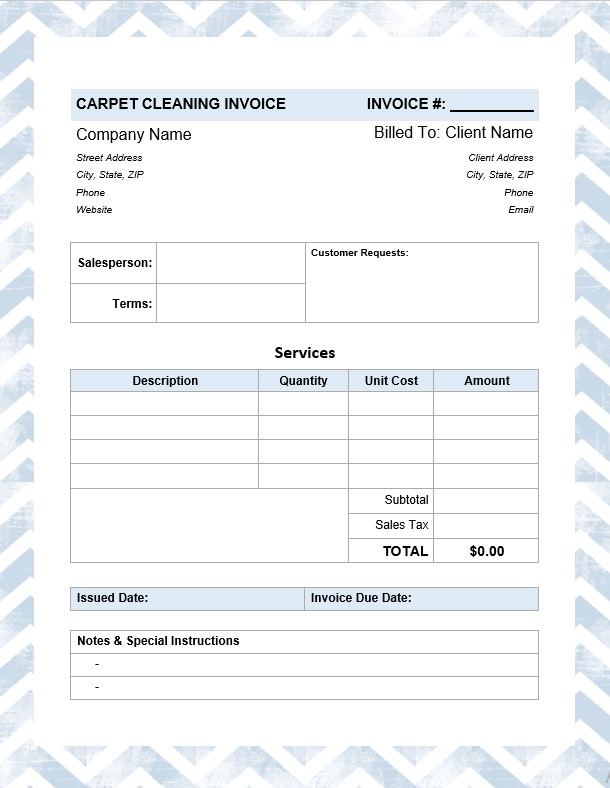 Carpet Cleaning Invoice