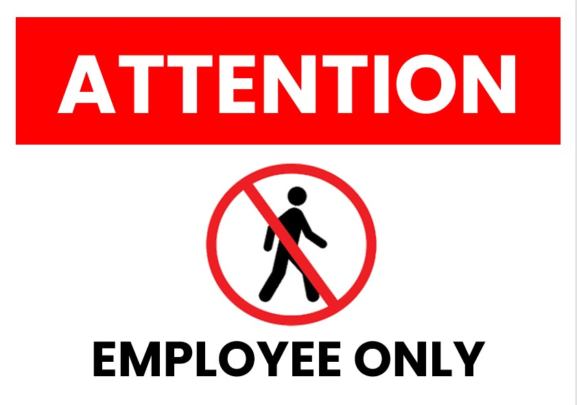 employee only Signs Template