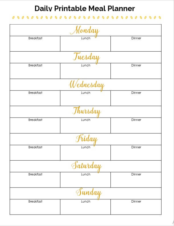 Daily printable meal planner
