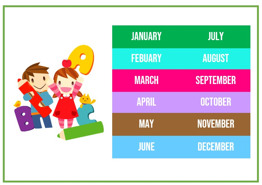Kids months of the year template