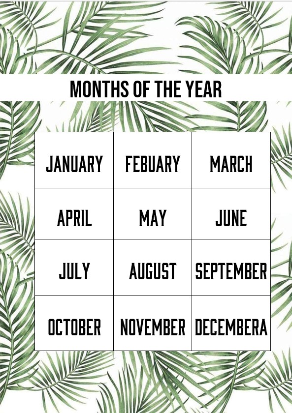 Leaf months of the year template