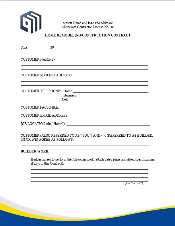 Residential Construction Change Order Form
