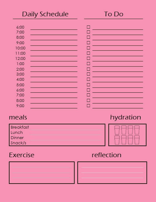 Schedule with meal planner